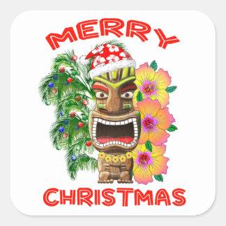 Merry Christmas Funny Santa Tiki Square Sticker
