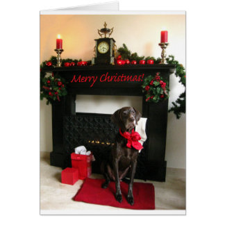 Merry Christmas german shorthaired pointer Greeting Card