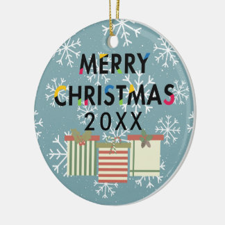 Merry Christmas Gift Boxes Holiday Wreath Christmas Ornament