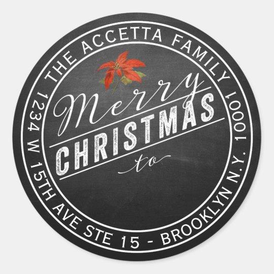 Merry Christmas Gift or Address Label Chalkboard