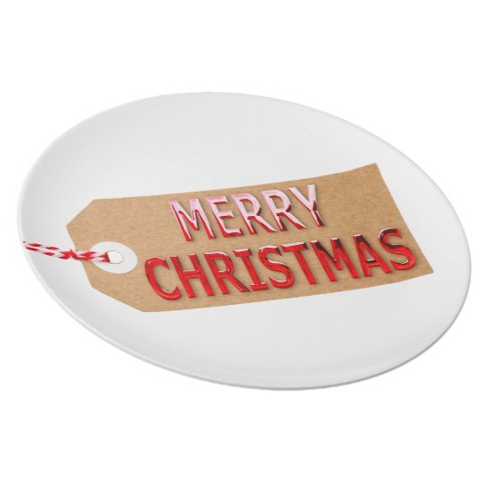 Merry Christmas Gift Tag Dinner Plate