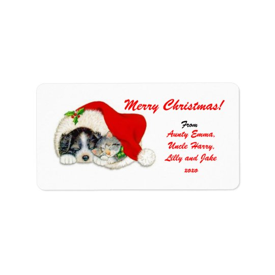 Merry Christmas Gift Tag Label - Personalised Name