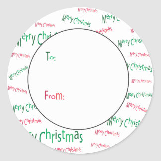 Merry Christmas Gift Tag Round Sticker