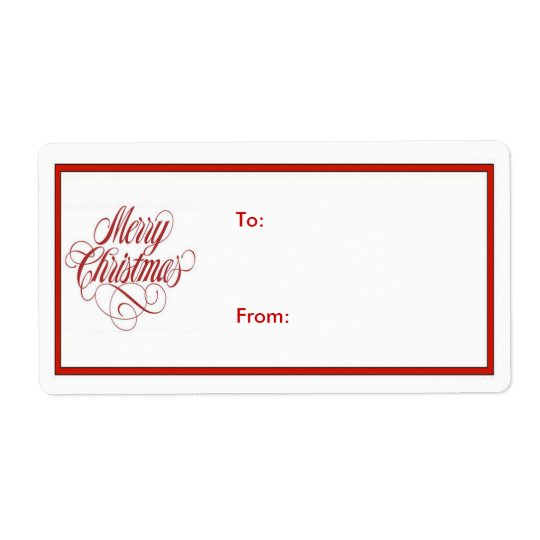 Merry Christmas! Gift Tag Shipping Label