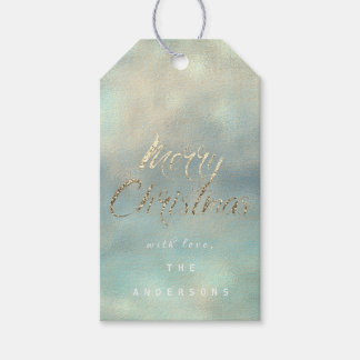 Merry Christmas Gift To Gold Blue Mint Burlap Gift Tags