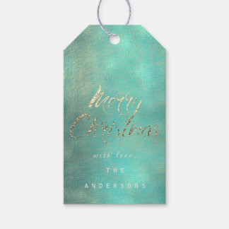 Merry Christmas Gift To Gold Mint Turquoise Burlap Gift Tags
