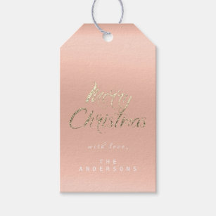 a849f9c273eca Merry Christmas Gift To Script Gold Coral Peach Gift Tags