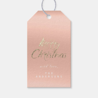 Merry Christmas Gift To Script Gold Coral Peach Gift Tags