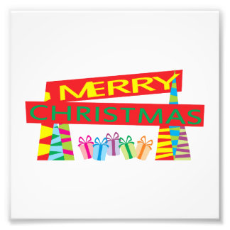 Merry Christmas Gifts Invitation Postage Label Art Art Photo