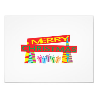 Merry Christmas Gifts Invitation Postage Label Art Photographic Print