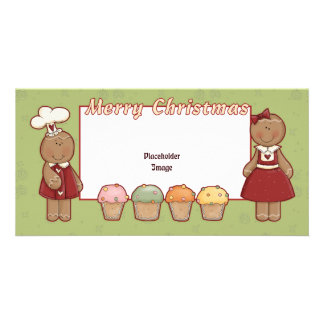 Merry Christmas - Gingerbread Girl and Boy Customized Photo Card
