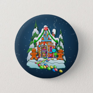 MERRY CHRISTMAS GINGERBREAD HOUSE by SHARON SHARPE 6 Cm Round Badge