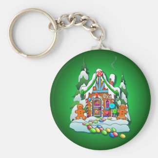 MERRY CHRISTMAS GINGERBREAD HOUSE by SHARON SHARPE Basic Round Button Key Ring