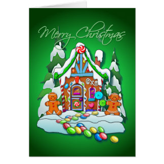 MERRY CHRISTMAS GINGERBREAD HOUSE by SHARON SHARPE Greeting Cards