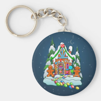 MERRY CHRISTMAS GINGERBREAD HOUSE by SHARON SHARPE Key Ring