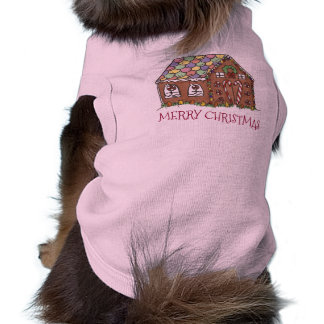 Merry Christmas Gingerbread House Holiday Dog Tee