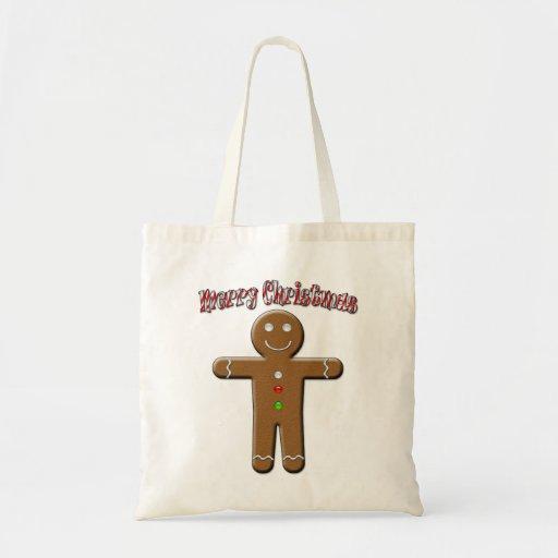 Merry Christmas - Gingerbread Man Canvas Bag