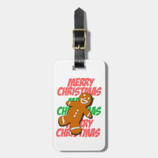 Merry Christmas Gingerbread Man Luggage Tag