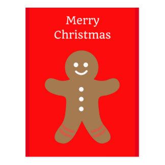 Merry Christmas Gingerbread Man Postcard