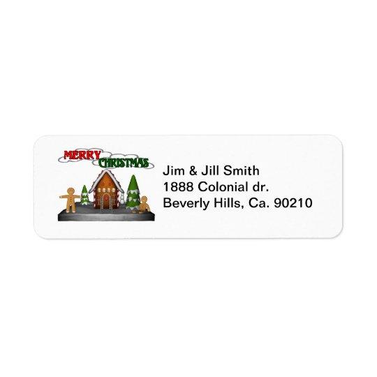 Merry Christmas Gingerbread Scene Return Address Label