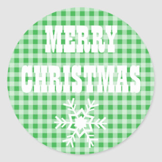 Merry Christmas Gingham Checkered Stickers