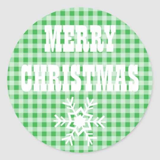 Merry Christmas Gingham Chequered Stickers