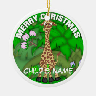 Merry Christmas Giraffe Christmas Ornament