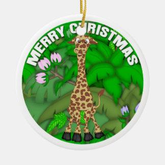 Merry Christmas Giraffe Christmas Ornament