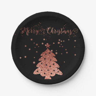 Merry Christmas Glam and Glitter Pink and Black Paper Plate