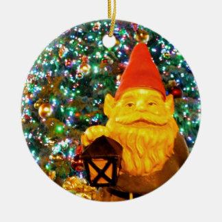 Merry Christmas Gnome Round Ceramic Decoration