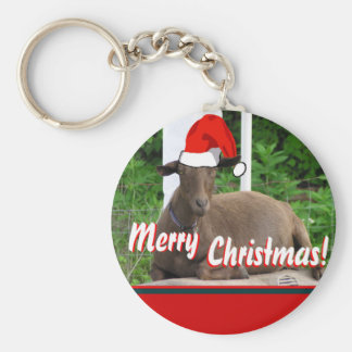 MERRY CHRISTMAS GOAT GREETINGS BASIC ROUND BUTTON KEY RING