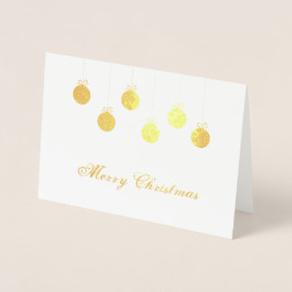 Merry Christmas gold baubles Foil Card