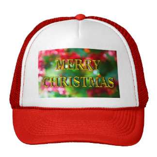 Merry Christmas Gold Bokeh Trucker Hat