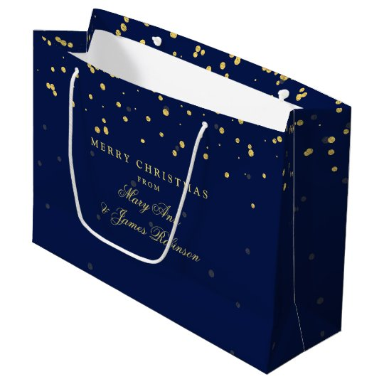 Merry Christmas Gold Confetti Dots Navy Blue Large