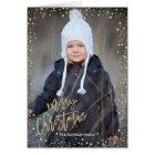 Merry Christmas   Gold Confettie   2 Photos Card