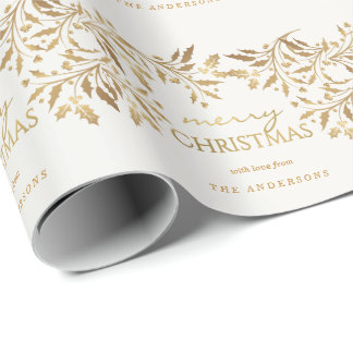 Merry Christmas Gold Faux Metallic Holly Garland Wrapping Paper