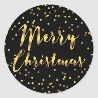 Merry Christmas Gold Foil Confetti Black Classic Round Sticker