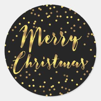 Merry Christmas Gold Foil Confetti Black Round Sticker