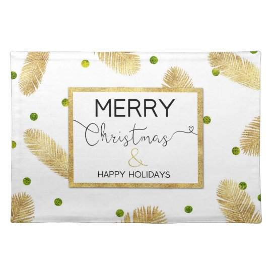 Merry Christmas Gold Glitter Script Cloth Placemat
