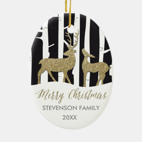 Merry Christmas gold glittering deers ornament