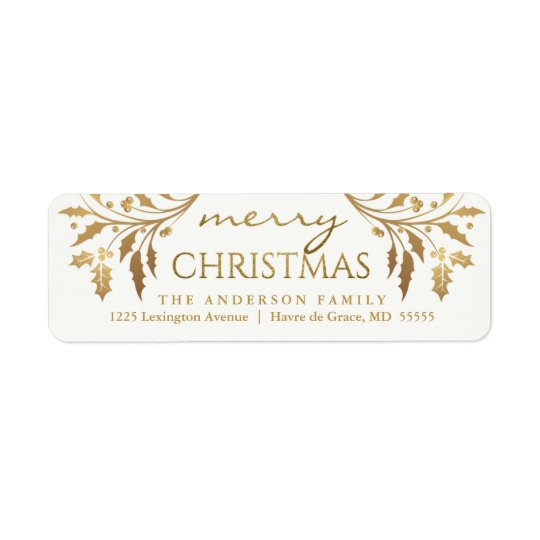 Merry Christmas Gold Holiday Holly Return Address