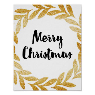 Merry Christmas - Gold Laurel Wreath - Poster
