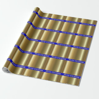 Merry Christmas Gold on Blue Stripe Wrapping Paper