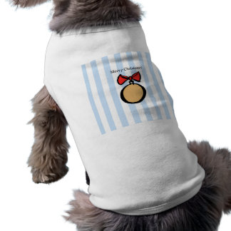 Merry Christmas Gold Ornament Doggie Tank Top Blue Sleeveless Dog Shirt