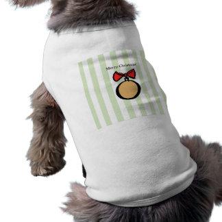 Merry Christmas Gold Ornament Doggie Tank Top GRN Sleeveless Dog Shirt