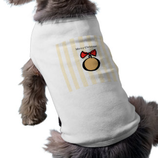 Merry Christmas Gold Ornament Doggie Tank Top YEL Sleeveless Dog Shirt