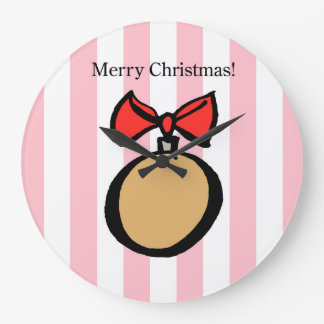 Merry Christmas Gold Ornament LG Round Clock Pink