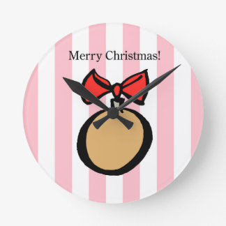 Merry Christmas Gold Ornament Med. Round Clock Pnk