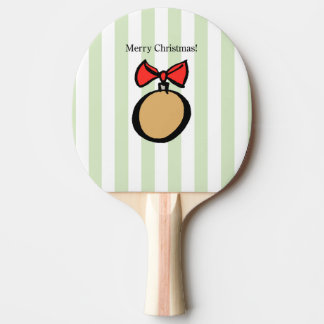Merry Christmas Gold Ornament Ping Pong Paddle GRN