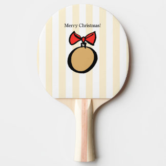 Merry Christmas Gold Ornament Ping Pong Paddle YEL